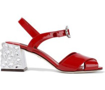 Crystal-embellished Patent-leather Sandals Red