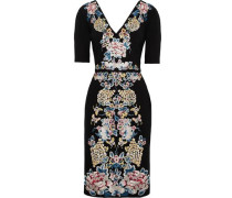 Embroidered stretch-ponte dress