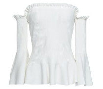 Off-the-shoulder Ribbed-knit Peplum Top White