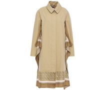 Woman Draped Silk-trimmed Cotton-gabardine Trench Coat Beige