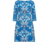 Printed Cloqué Mini Dress Blue