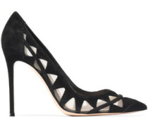 Laser-cut mesh and suede pumps