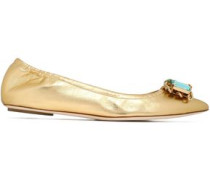 Crystal-embellished metallic point-toe flats