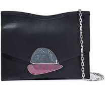 Small Curl Embellished Leather Shoulder Bag Black Size --