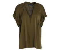 Ruffled Stretch-silk Top Army Green