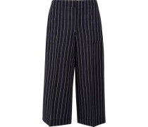 Cropped pinstriped wool-twill wide-leg pants