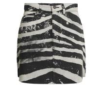 Coated Zebra-print Denim Mini Skirt Black  4