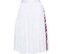 Printed Crepe-trimmed Sequined Tulle Skirt White