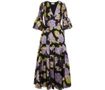Floral-print Metallic Fil Coupé Woven Midi Dress Black