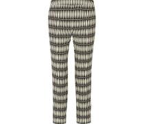 Cropped Printed Crepe Straight-leg Pants Black
