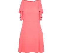 Woman Ruffled Crepe De Chine Mini Dress Coral