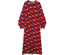 Woman Floral-print Stretch-jersey Maxi Dress Red