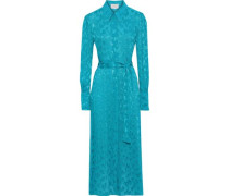 Belted Fil Coupé Georgette Maxi Shirt Dress Turquoise
