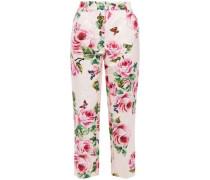 Woman Cropped Printed Cotton And Silk-blend Jacquard Straight-leg Pants Pastel Pink