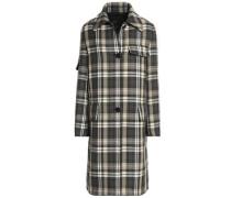 Tartan wool-blend twill coat