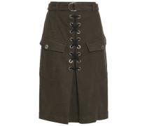 Lace-up cotton-blend pencil skirt