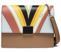 Print-paneled Leather Shoulder Bag Yellow Size --