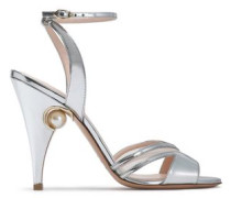 Mesh-trimmed embellished mirrored-leather sandals