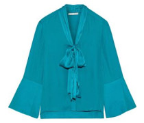 Woman Merideth Pussy-bow Satin-trimmed Silk Blouse Teal