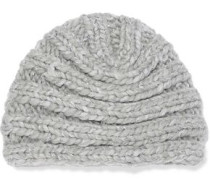 Dominique Metallic Ribbed Wool-blend Beanie Light Gray Size ONESIZE