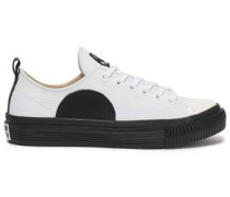Plimsoll Appliquéd Leather Sneakers White