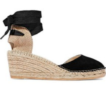Suede And Canvas Wedge Espadrilles Black