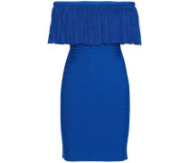 Lucee off-the-shoulder plissé-trimmed bandage dress