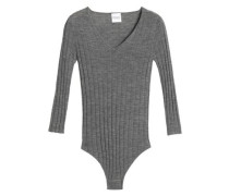 Mélange ribbed wool and cashmere-blend bodysuit