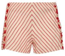 Fringe-trimmed Striped Cotton-gauze Shorts Red