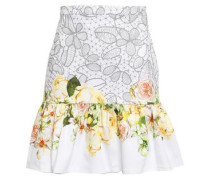 Fluted Printed Stretch-cotton Mini Skirt White