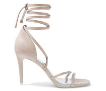 Snake-effect Leather Sandals Pastel Pink