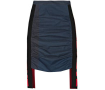 Checked Paneled Ruched Cotton-poplin Skirt Indigo