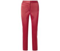 Woman Liv Pinstriped Satin Slim-leg Pants Claret