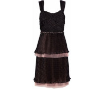 Tiered tulle-trimmed polka-dot chiffon dress