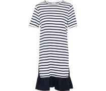 Poplin-paneled striped cotton-jersey dress