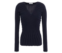 Woman Justine Gathered Ribbed Cotton-blend Top Navy