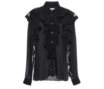 Ruffled Lace-trimmed Voile Blouse Black