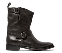 Bedford buckled textured-leather boots