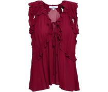 Cutout Ruffled Gauze Top Claret