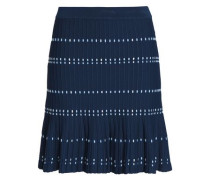 Fluted ribbed-knit mini skirt