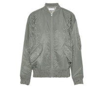 Lace-up distressed shell bomber jacket