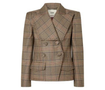 Woman Double-breasted Prince Of Wales Checked Wool Jacket Brown