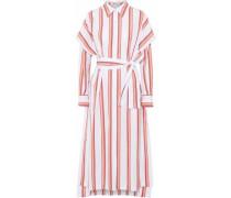 Belted Striped Cotton-poplin Midi Shirt Dress Peach
