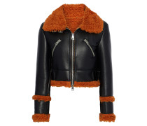 Cropped Faux Shearling And Leather Jacket