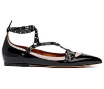Woman Love Latch Eyelet-embellished Patent And Matte-leather Point-toe Flats Black