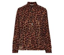 Gart Satin-trimmed Leopard-print Velvet Shirt Animal Print