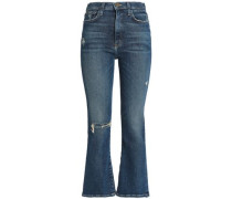 Distressed High-rise Flared Jeans Mid Denim  5