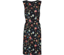 Layered Polka Dot Crepe And Embroidered Tulle Dress Black