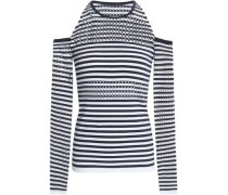 Stadium cold-shoulder striped pointelle-knit sweater