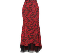 Asymmetric Layered Lace And Silk-organza Skirt Red